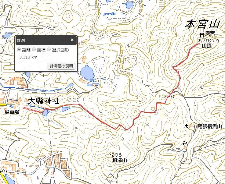 本宮山(尾張本宮山)ハイキングマップ