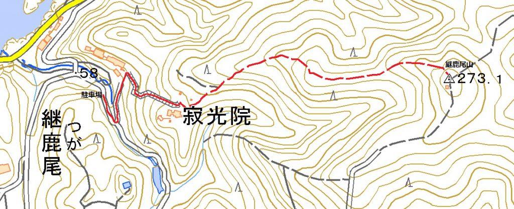 寂光院-継鹿尾山ハイキングコースマップ