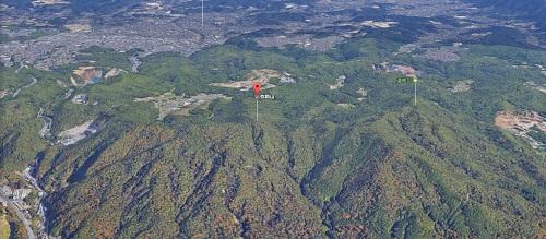 弥勒山の上空からの風景