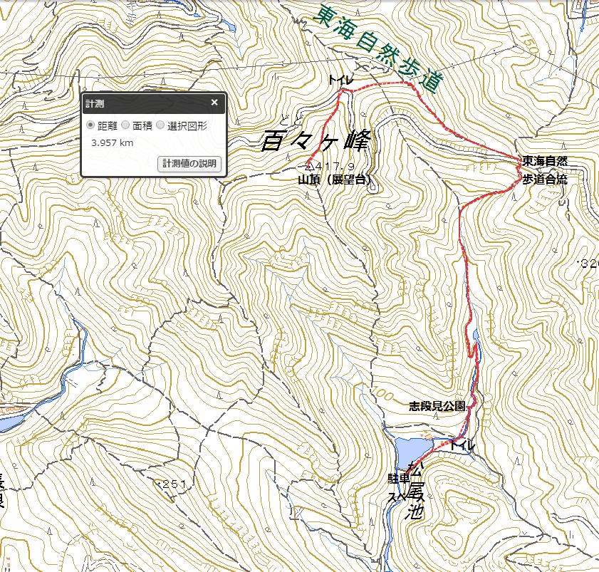 百々ヶ峰松尾池・志段見公園経由ハイキングコース