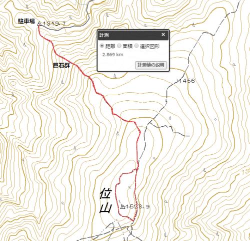 位山巨石群登山道ハイキングマップ