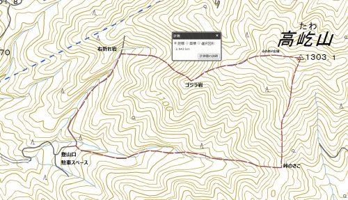 高屹山ハイキングマップ