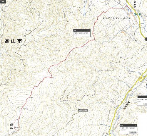 位山遊歩道ハイキングマップ
