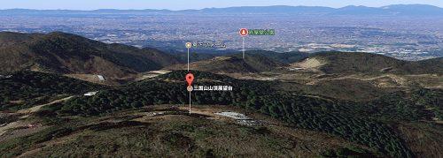土岐市三国山701mの上空からの風景