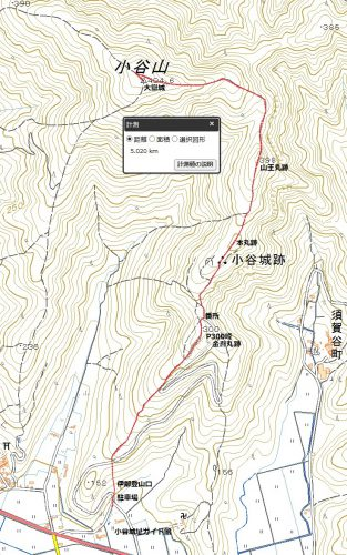 小谷山-大手道(南尾根)ルート登山マップ