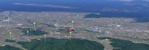 小谷山494.6mの上空からの風景