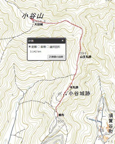 小谷山-大手道(南尾根)ルート-中腹駐車場登山マップ