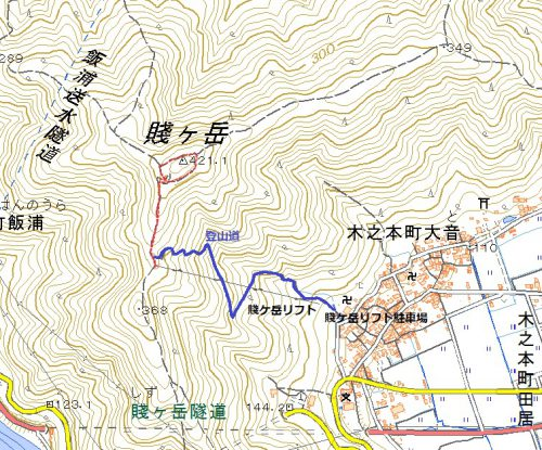賤ケ岳-賤ケ岳リフト経由ハイキングマップ