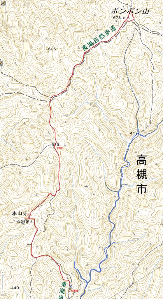 本山寺駐車場-ポンポン山ハイキングコース