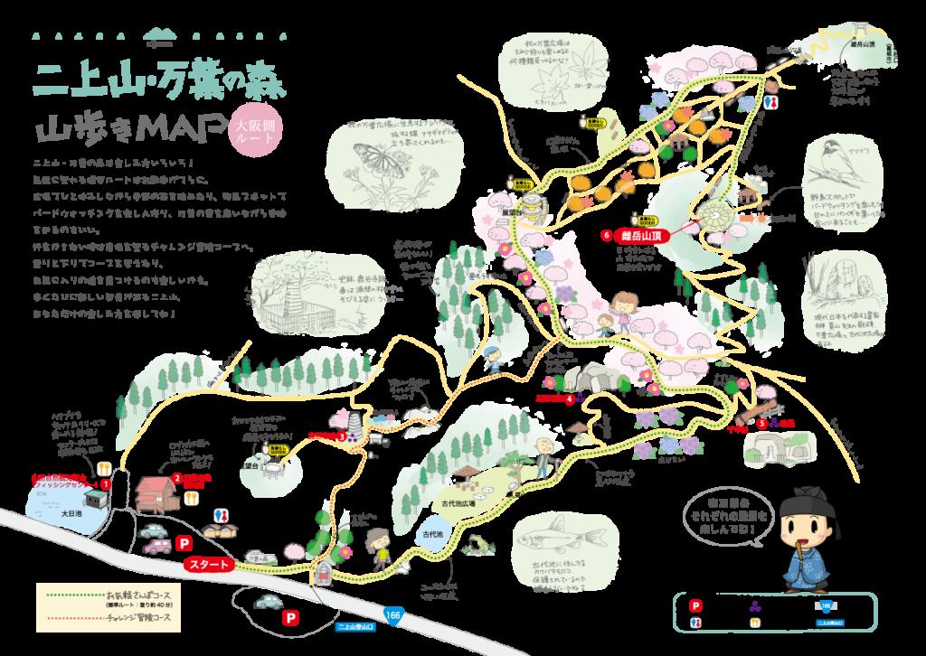 二上山・万葉の森山歩きマップ